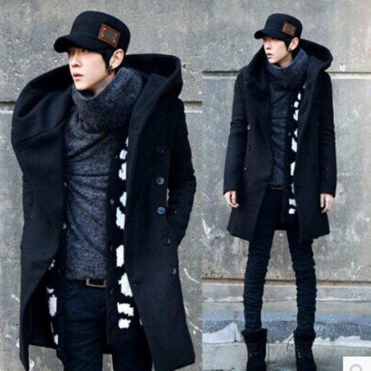 Winter Mens Long Woolen Trench Coat Male Hooded Jacket