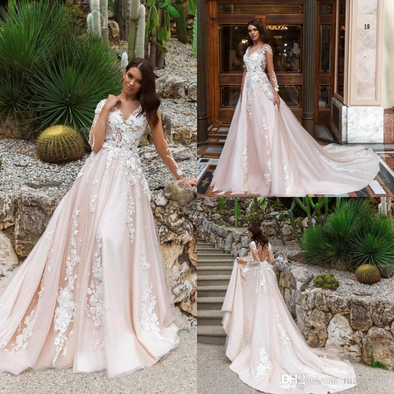 5627bc5c711 Discount Classy Long Sleeve Wedding Dresses Sheer V Neck Lace Appliqued  Country Bridal Gowns Plus Size 2018 Wedding Dress Wedding Gown Mermaid  Wedding ...