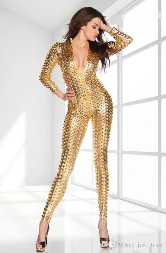 2015 satış Deldi seksi rugan leotard kostümleri gece Kostümleri Cosplay lateks catsuit lateks giyim kadın