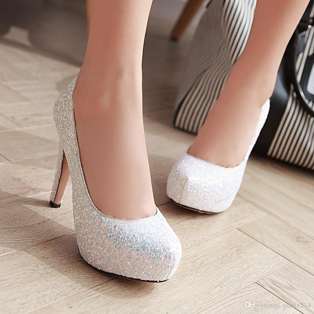 New spring princess round toe platform thin high heels stiletto crystal banquet wedding shoes bridal sequins shoes work party prom black