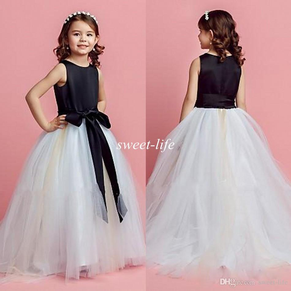 Hot Sale Cheap Black And White Tulle Flower Girl Dresses 2015