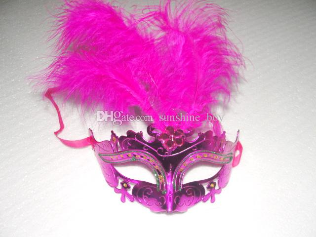 2016 Hot sales Gold powder painting feather masquerade masks Crystal flowers decorations mask wedding masks mix color