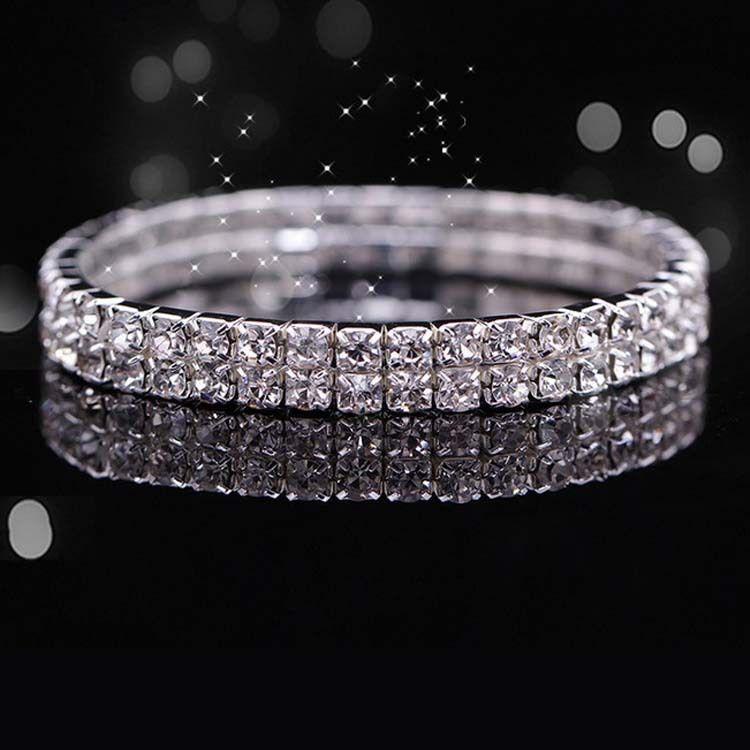 Pulseira De Cristal De Noiva Barato Em Estoque Strass Frete Grátis Acessórios Do Casamento de Uma Peça de Prata Fábrica Venda De Jóias De Noiva 2015