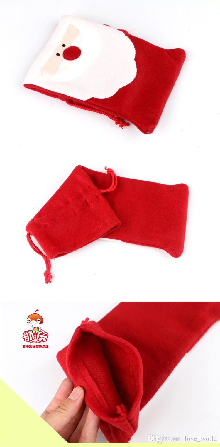 Christmas Red Wine Bottle Cover Bags Package Bag Dinner Table Decoration Home Party Decors Santa Claus Christmas bag Supplier