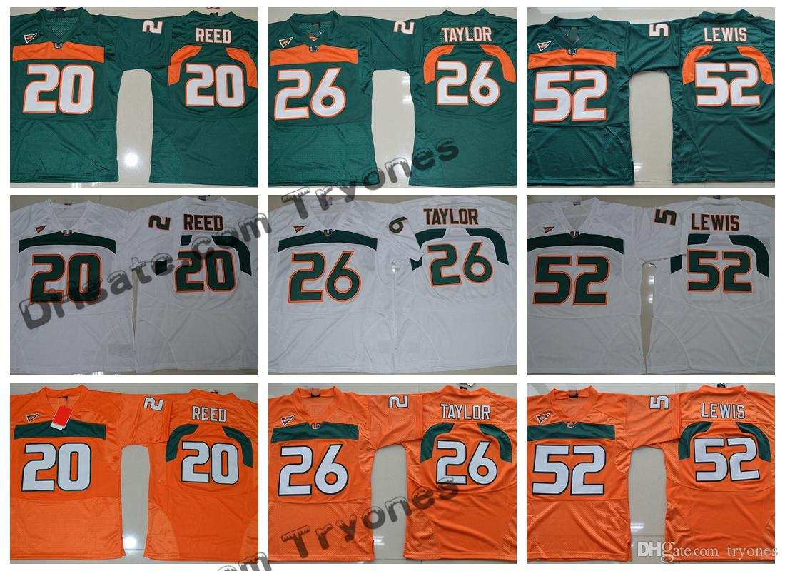 d550eea70 2019 Mens Miami Hurricanes College Football Jerseys 26 Sean Taylor 52 Ray  Lewis 20 Ed Reed Green Orange Stitched Jerseys From Tryones