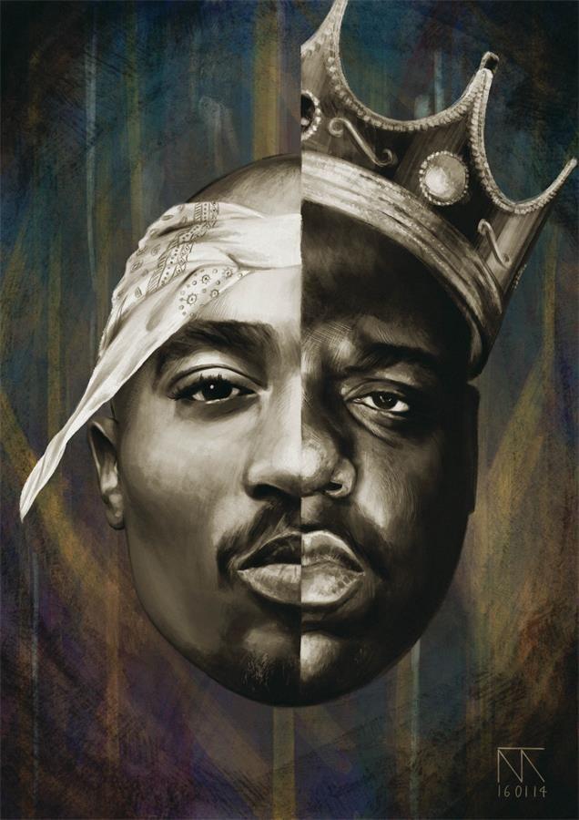 2018 Notorious BIG Biggie Smalls Tupac Shakur Hip Hop Poster Art Print Decor 13x20 24x36 27x40 From Summersilk 503