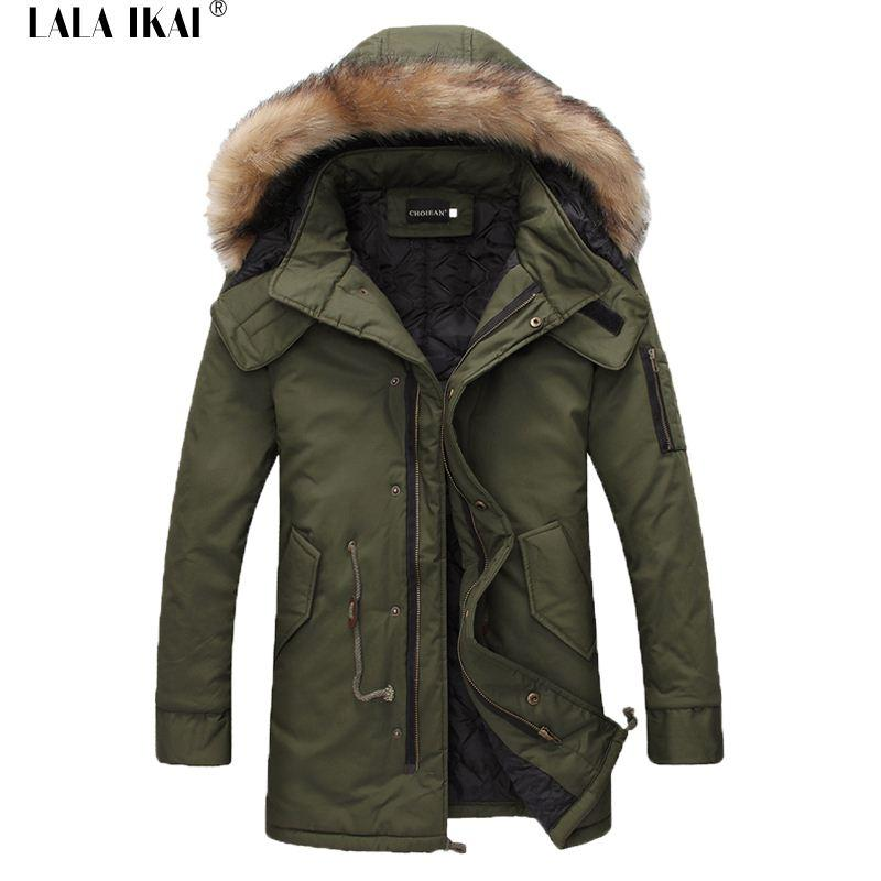 Best 1603 Mens Winter Parka With Fur Hood Long Coat Draw String ...