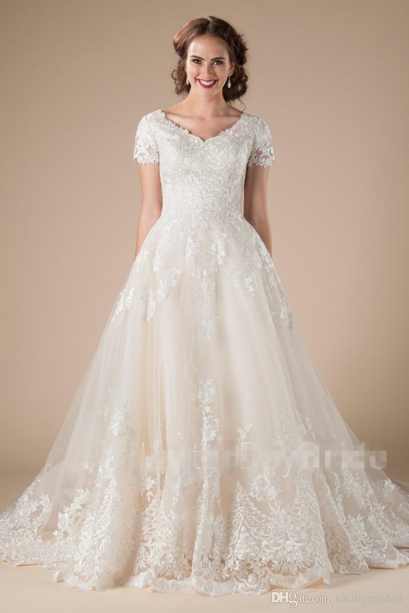 A-Line кружева тюль старинные скромные свадебные платья с короткими рукавами аппликации формальные страна Западная LDS свадебные платья храм свадебные платья