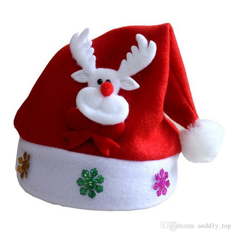 Kids LED Christmas Hat Light UP Cartone animato Snowman Elk Santa Red Hats XMAS Decorazioni Capodanno Forniture feste bambini bambini