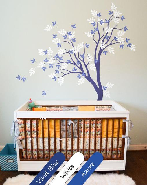 Blue Tree Wall Decal Cute Wall Tattoo Wall Mural Stickers Nursery Tree  200X125CM Part 94