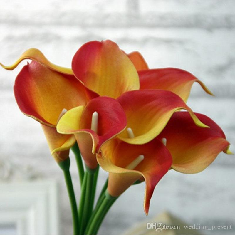 New calla lilly flores falsificadas de seda artificial de plástico buquês de lírio para o casamento nupcial buquê de decoração para casa flores falsificadas 8 cores
