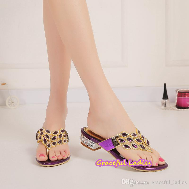 Gold/Purple Rhinestones Slippers Low Heel Cut-out Sandals For Brides Flip Flops 2.5cm Heel Crystals Shoes Women Slip-ons US Size 4-11