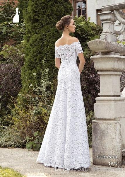 2015 bainha vestidos de noiva fora do ombro manga curta tecido de renda vestidos de noiva moda lindo vestido para a igreja de casamento 2015 primavera