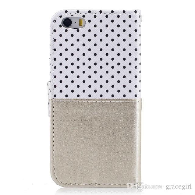 Butterfly Dot Flip Wallet Leather Case For Iphone 8 7 6 6S Plus 5 5S SE Huawei P9 P8 Lite Redmi NOTE3 3S Stand Fashion Pouch Phone Cover