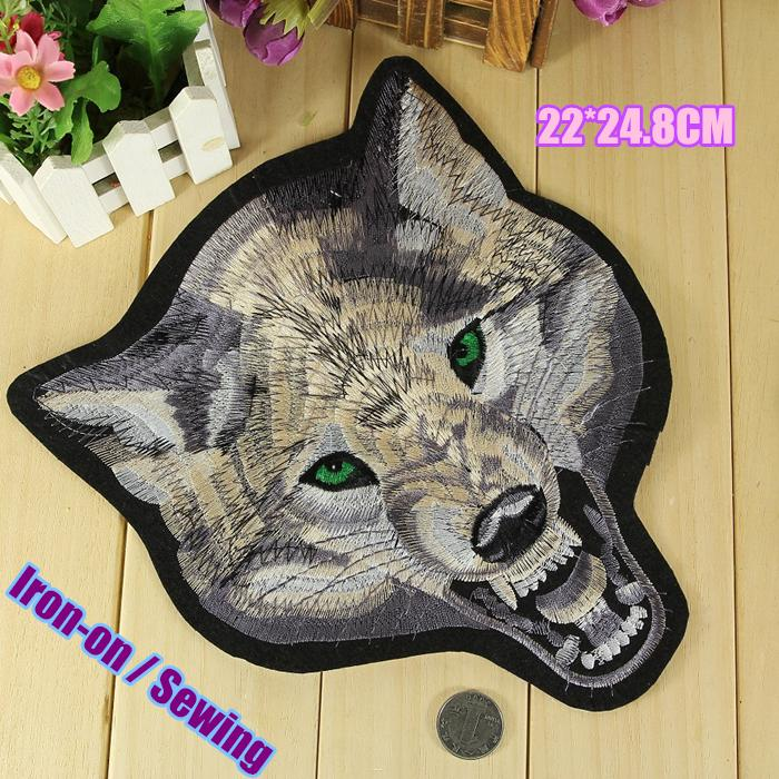 22*24.8CM wolf big iron on biker patches jacket back patch embroidered