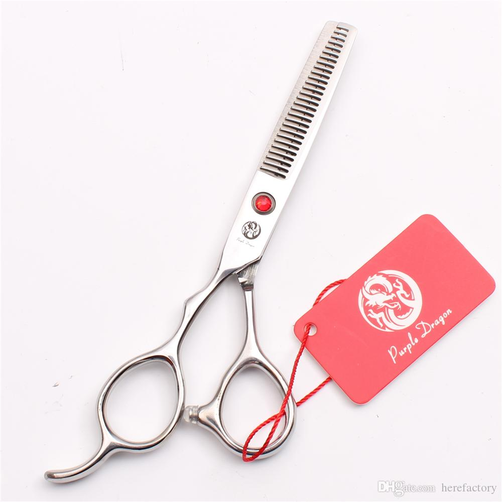 "Z8000 5.5"" JP 440C Purple Dragon Red Stone Professional Human Hair Scissors Barbers' Cutting Thinning Shears Left Hand Scissors Style Tools"
