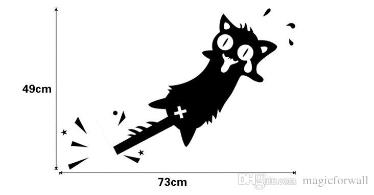 Funny Black Cat with two Tails Wall Art Mural Decal The Cat of the Tail Wallpaper Mural Decor Door Car Sticker