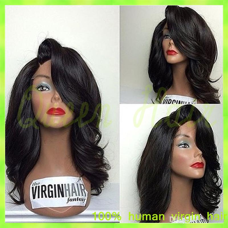 Ücretsiz kargo doğal dalga tutkalsız tam dantel insan saçı peruk bebek saç Brezilyalı dantel peruk ağartılmış knot siyah kadın