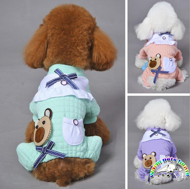 Cute Dog Smoking Jacket Cotton Plaid Winter Home Dress For Dogs
