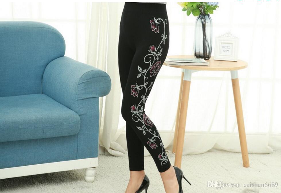 2018 printemps nouvelle mode côté bord impression Leggings femmes Haute Résilience crayon pantalon Haute taille Impression sans couture Render pantalon Collants
