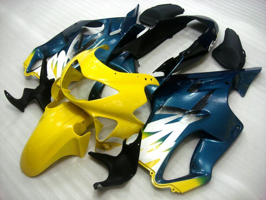 100% Fit fairings motocicleta amarelo azul para Honda NOVA carenagem kit CBR600 F4 CBR 600 F4 1999 2000 carroçaria GBIX