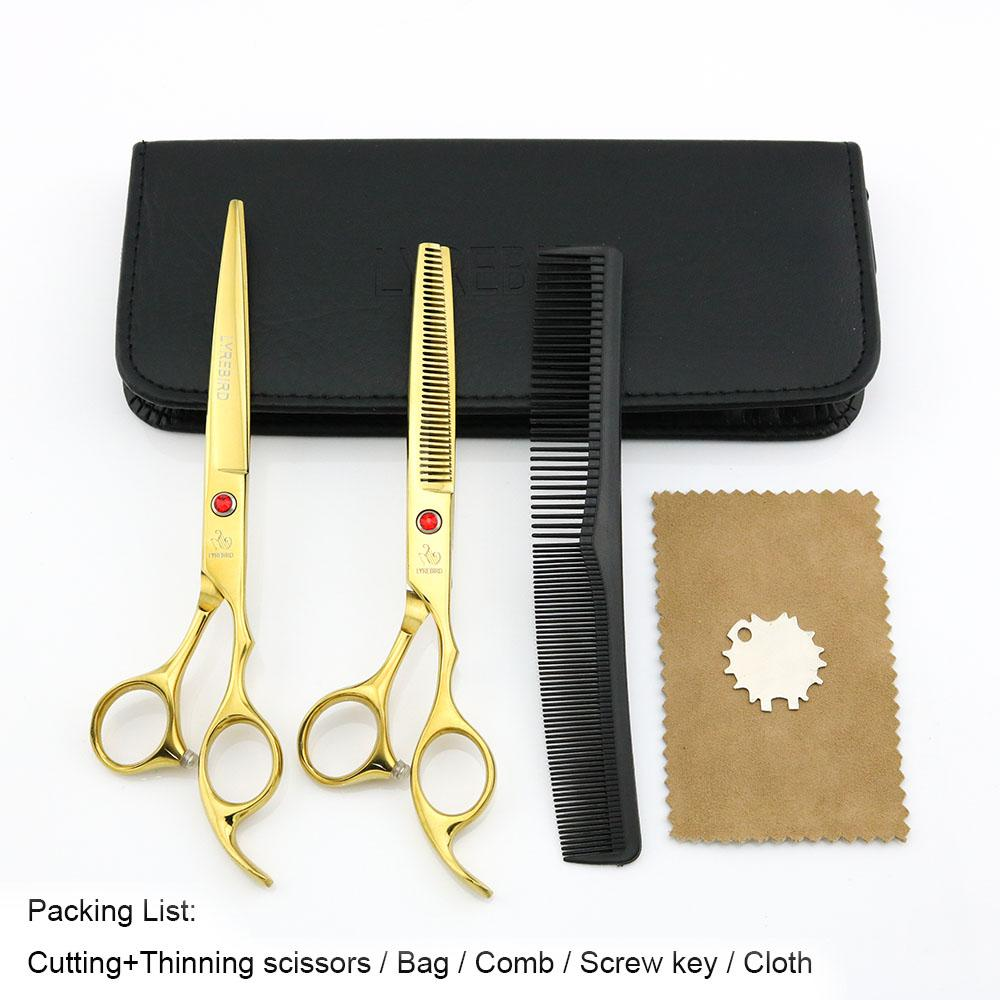 Hair scissors 7 INCH Cutting scissors 6.5 INCH Thinning shears LYREBIRD Golden Dog Grooming scissors NEW