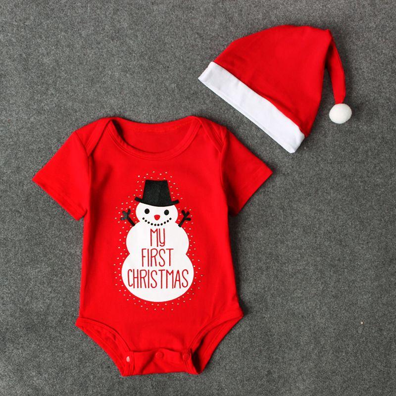 Acquista Baby Xmas Pagliaccetto 2 Pz Set Cappello A Pompon Santa + Manica  Corta Pagliaccetto Rosso Neonati Il mio Primo Onesie Di Natale Ragazzi  Ragazze 0 ... 190592686def