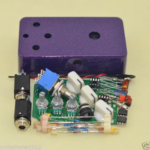 Diy Fuzz Full Kit - Drilled Case Pots Knobs Footswitch Stompbox Pedal purple