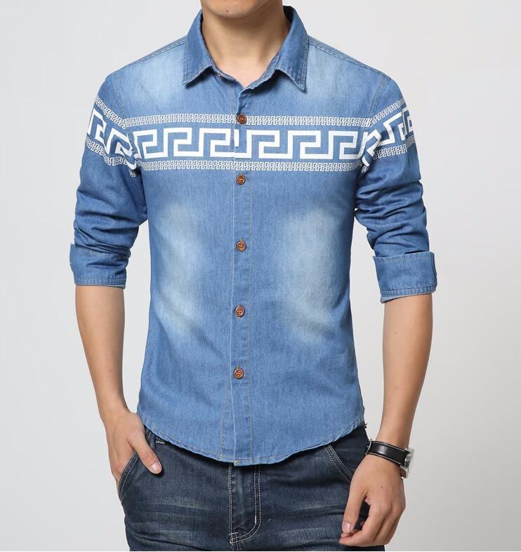 Best 2016 New Fashion Men Clothes Classic Print Jeans Shirt Trend ...
