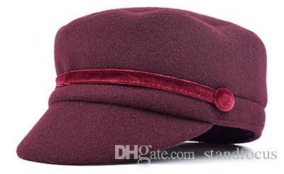 Stand Focus Donna Esercito militare Cadetto Cappello Cappellino Moda donna Tweed Autunno Inverno Piatto Spesso caldo Moda Borgogna Grigio Nero