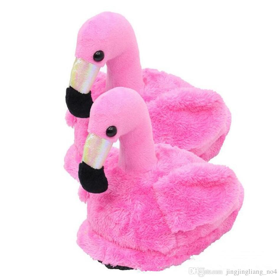 Chinelos de flamingo Animal Furry Chinelos Casa Sapatos Chinelos de Inverno Quentes para As Mulheres Menina 2 pçs / par Macio Stuffed Toys LJJO3566
