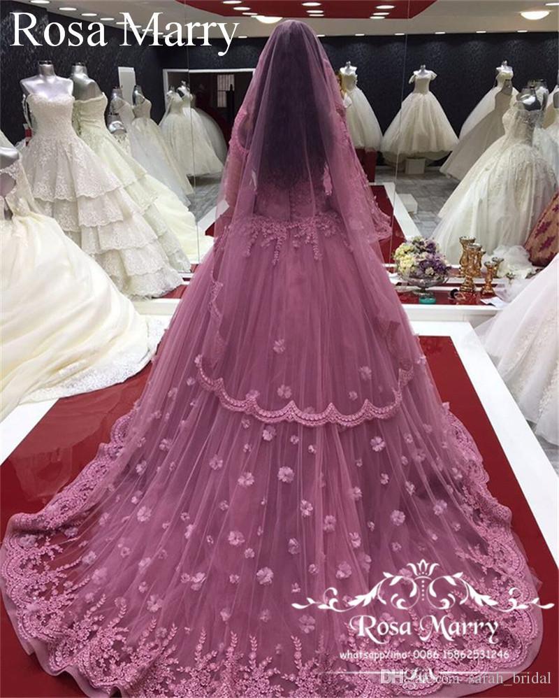 Compre Vestidos De Boda Rosados musulmanes De Hijab Del Vestido De ...