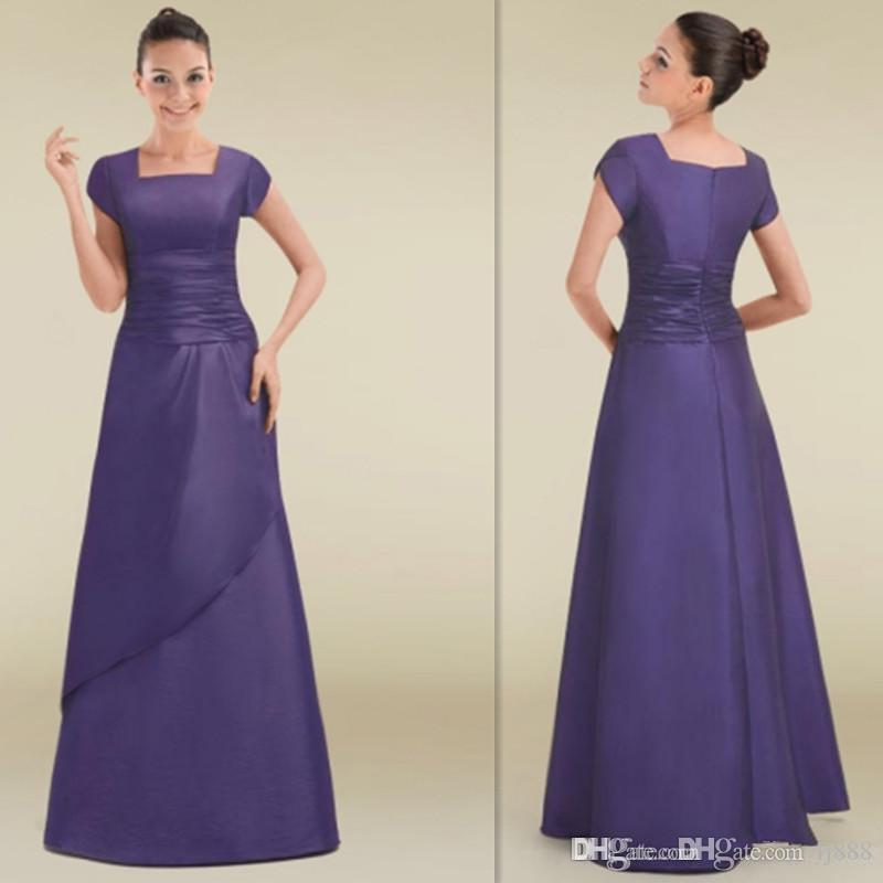 Simple Short Sleeves Bridesmaid Dresses Lavender Satin Square A-line ...