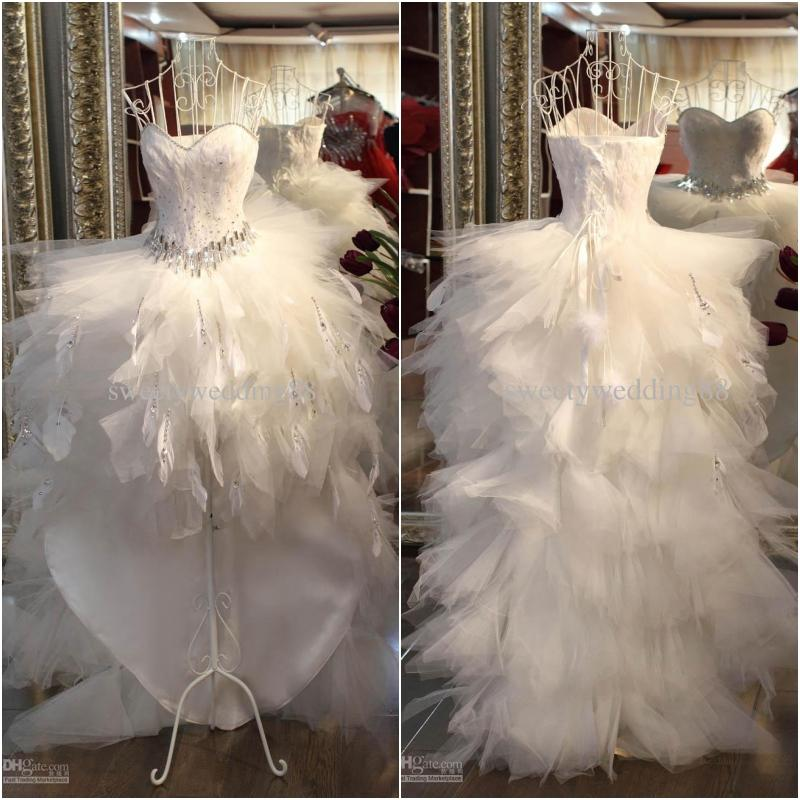 Discount luxury feather wedding dresses with crystal for White feather wedding dress