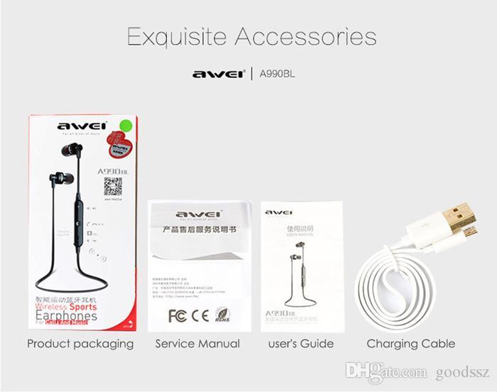 AWEI A990BL 스포츠 스마트 블루투스 무선 이어폰 넥 밴드 iPhone 5 6 6S 용 마이크 제어 헤드폰 포함 Samsung Galaxy S6 S4 Note4 HTC