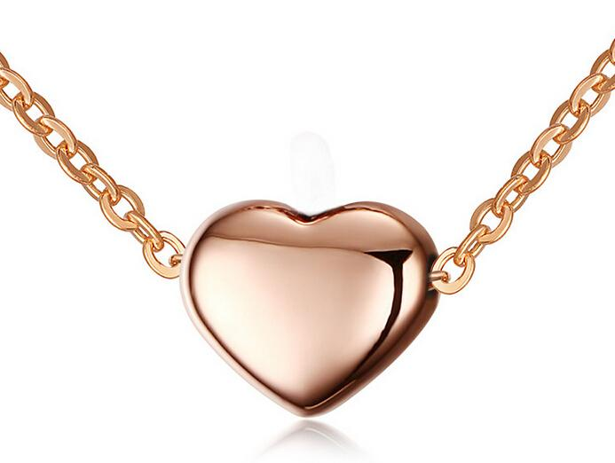 Fancy Top Quality Anazing Valentine IP Rose Gold Heart design Necklace Pendant stainless steel Women fashion Jewelry Gift With Free Chain