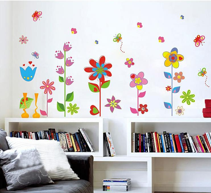 colorful garden flower bedroom room vinyl decal art diy home decor wall sticker removable the real sticker bathroom waterproof removable wall stickers