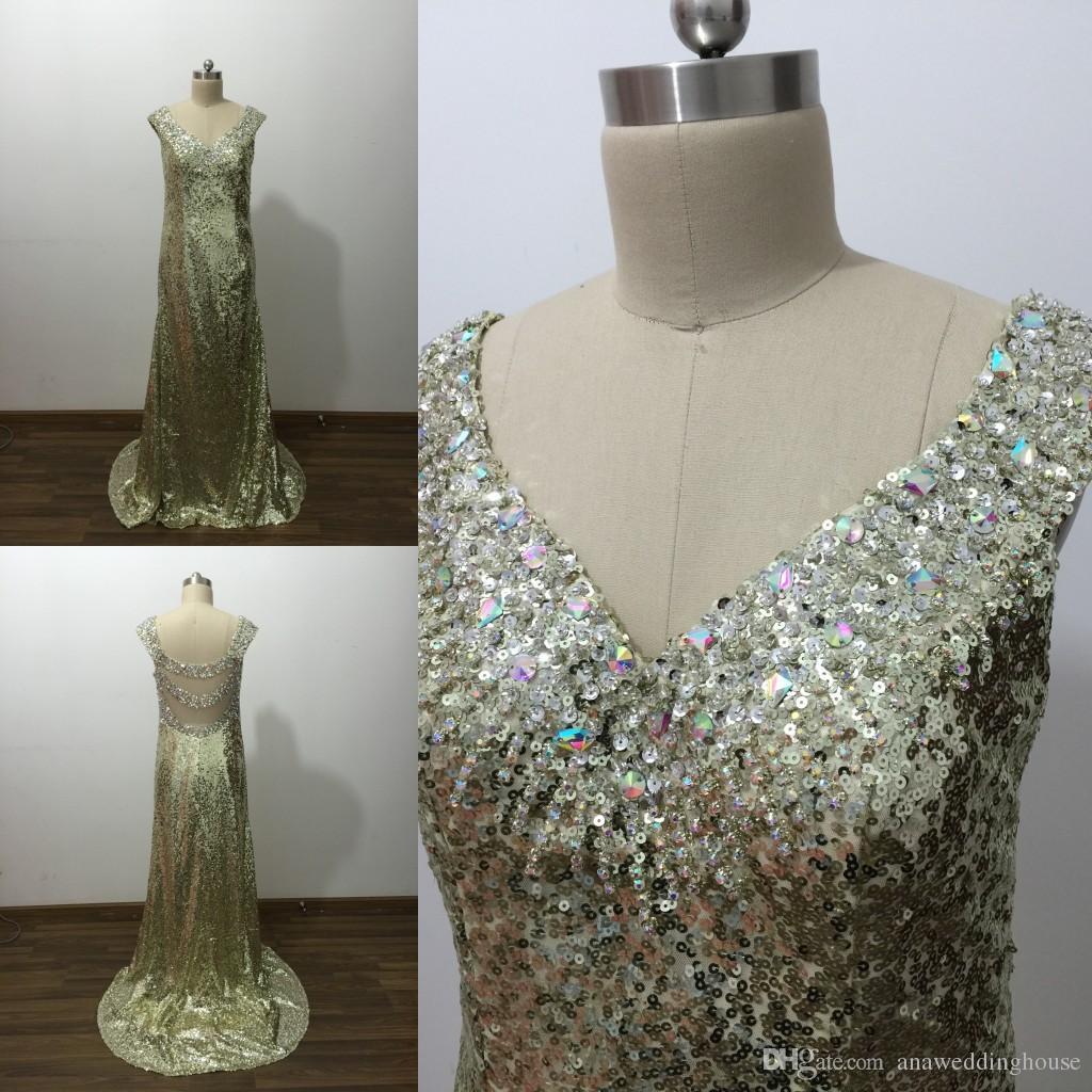 2015 золотые блестки дешевые платья выпускного вечера с кристальными блестками vestidos де Novia милая линия sexy backless искрение платья партии в наличии