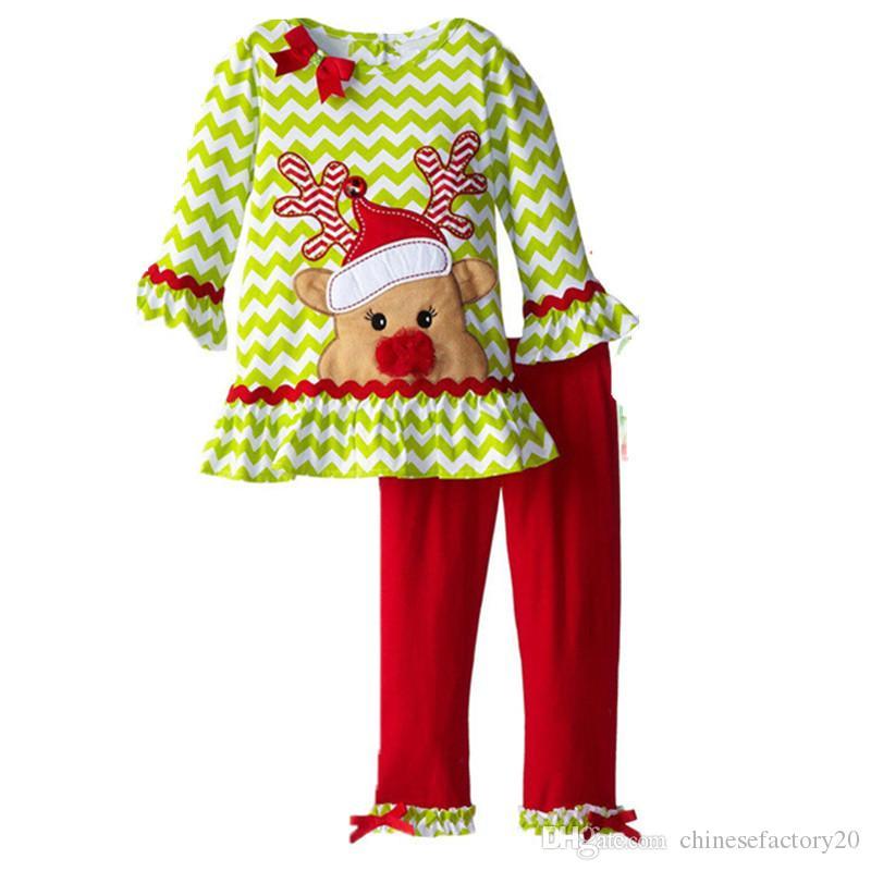 Bebek Kız Moda Sonbahar Ilmek Noel Şerit Dantel Nokta Tişört Elbise + Pantolon Suits Setleri Uzun Kollu Pijama Bebek Butik Kıyafetler