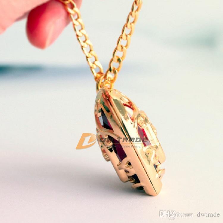 DHL es The Legend of Zelda corazón colgante collar de cristal y llaveros rojo Azul amor forma llavero collar J010801 #