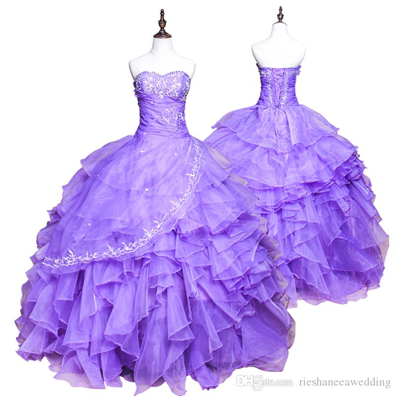 Shining Sweetheart Crystal Beads Light Purple Quinceanera
