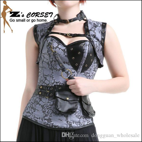 Corsetto sexy Steampunk Top in acciaio disossato Corsetti da allenamento in vita Nero Marrone Retro corsetto broccato Steampunk Costuming da donna