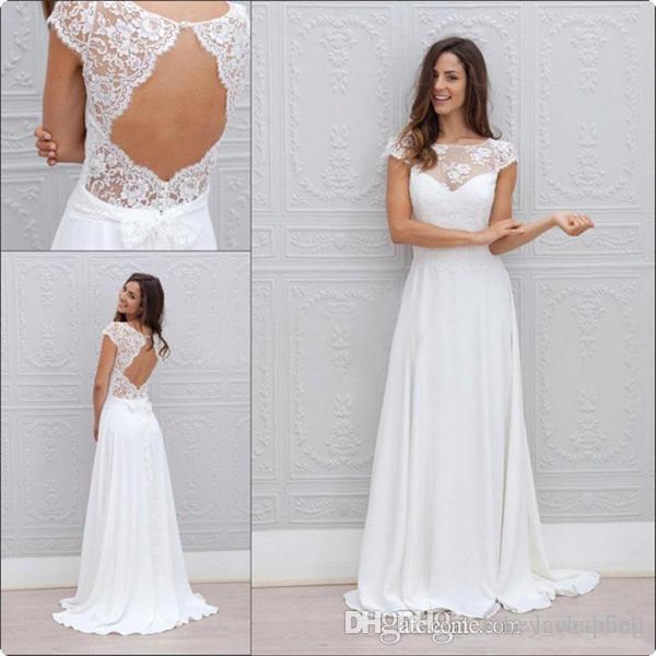 Discount Beach Boho Wedding Dresses Country A Line Sheer Jewel Neck