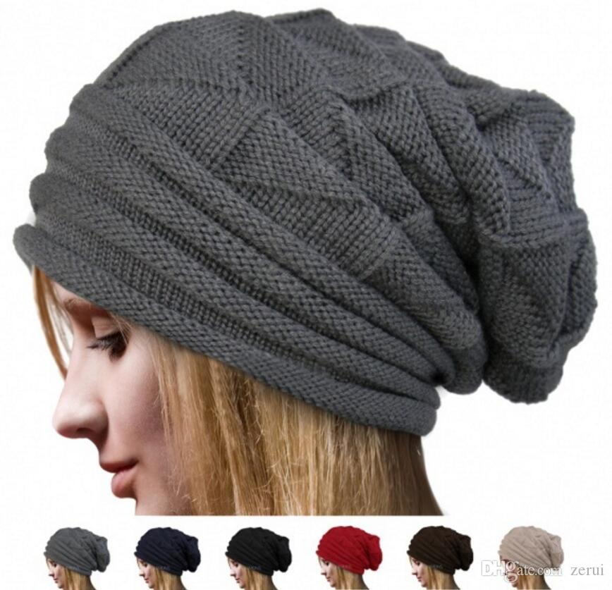 Winter Casual Cotton Knit Hats For Women Men Baggy Beanie Hat