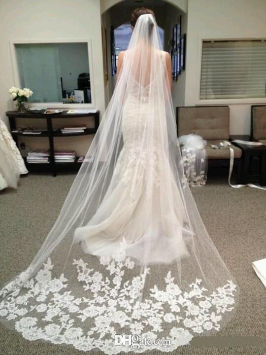 أنيقة الفاخرة الأبيض العاج 1 طبقة الزفاف الزفاف الحجاب 3 متر طول appliqued الزفاف اكسسوارات مانتيا الدانتيل حافة