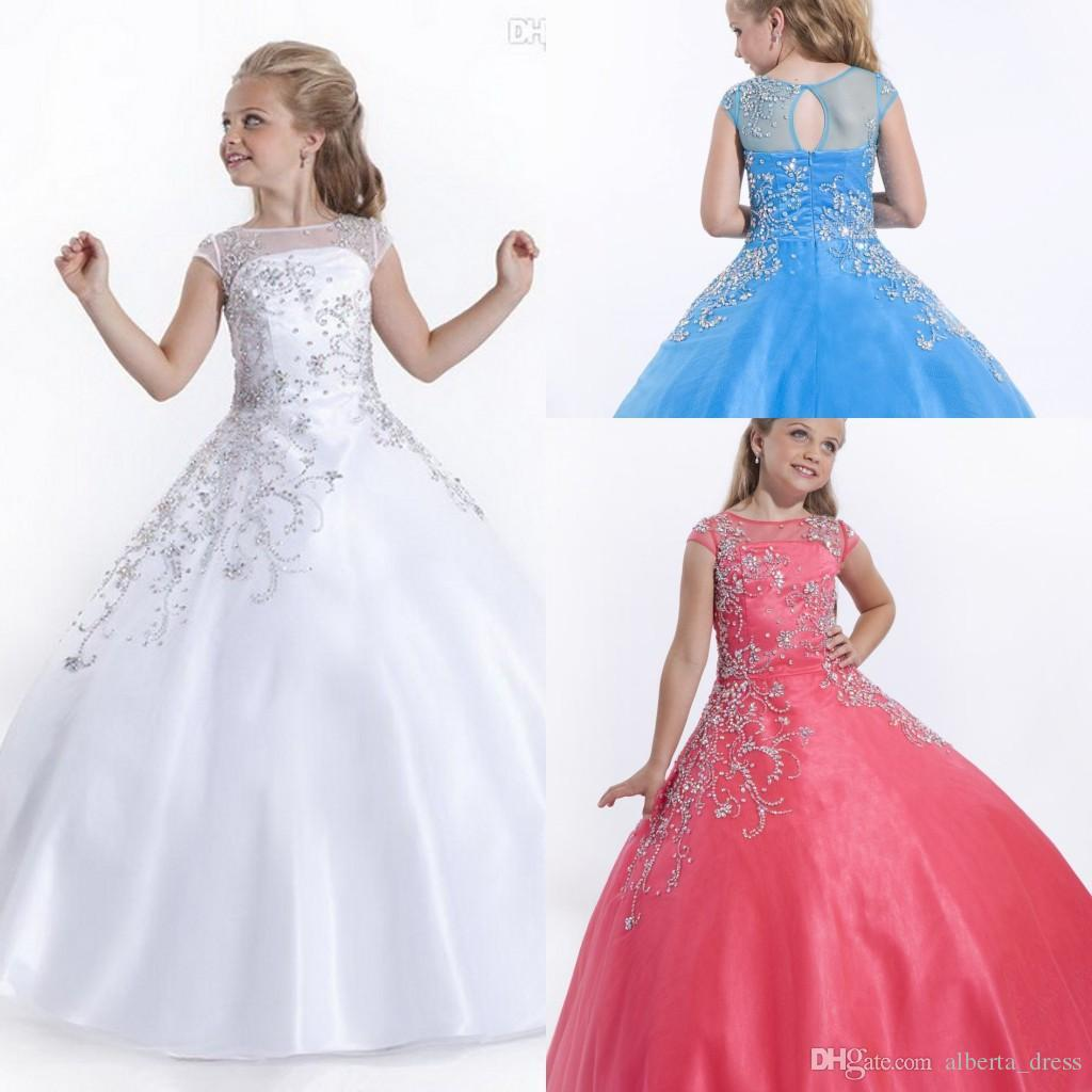 2015 Cheap Short Cap Sleeves Girls Pageant Dresses Size Flower Girl White  Flower Girl Dresses Gowns Little Little Pageant Gowns For Girls Satin  Flower Girl ...