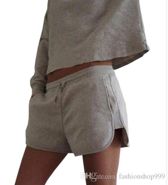 9073 # Cropped Hoodies und kurze Abschnitt 2017 Sommer zweiteilige Damenmode Langarm-Shirt und Shorts Sport Anzug