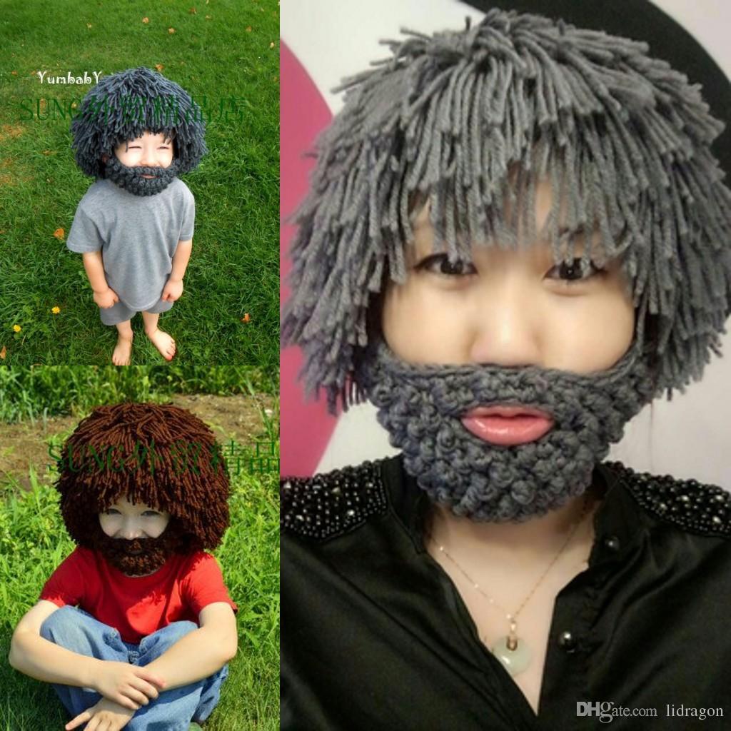 ... cheapest crochet cute baby hats 2018 kids beanie skull caps beard  knitted hats kids crochet hat ... 22211f84522d