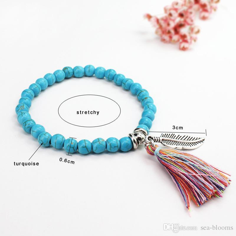 2017 Boho Natural Stone Turquoises Beads Bracelet Silver Color Leaf Tassel Charm Bracelets Bangle For Women Support FBA Drop Shipping D207S