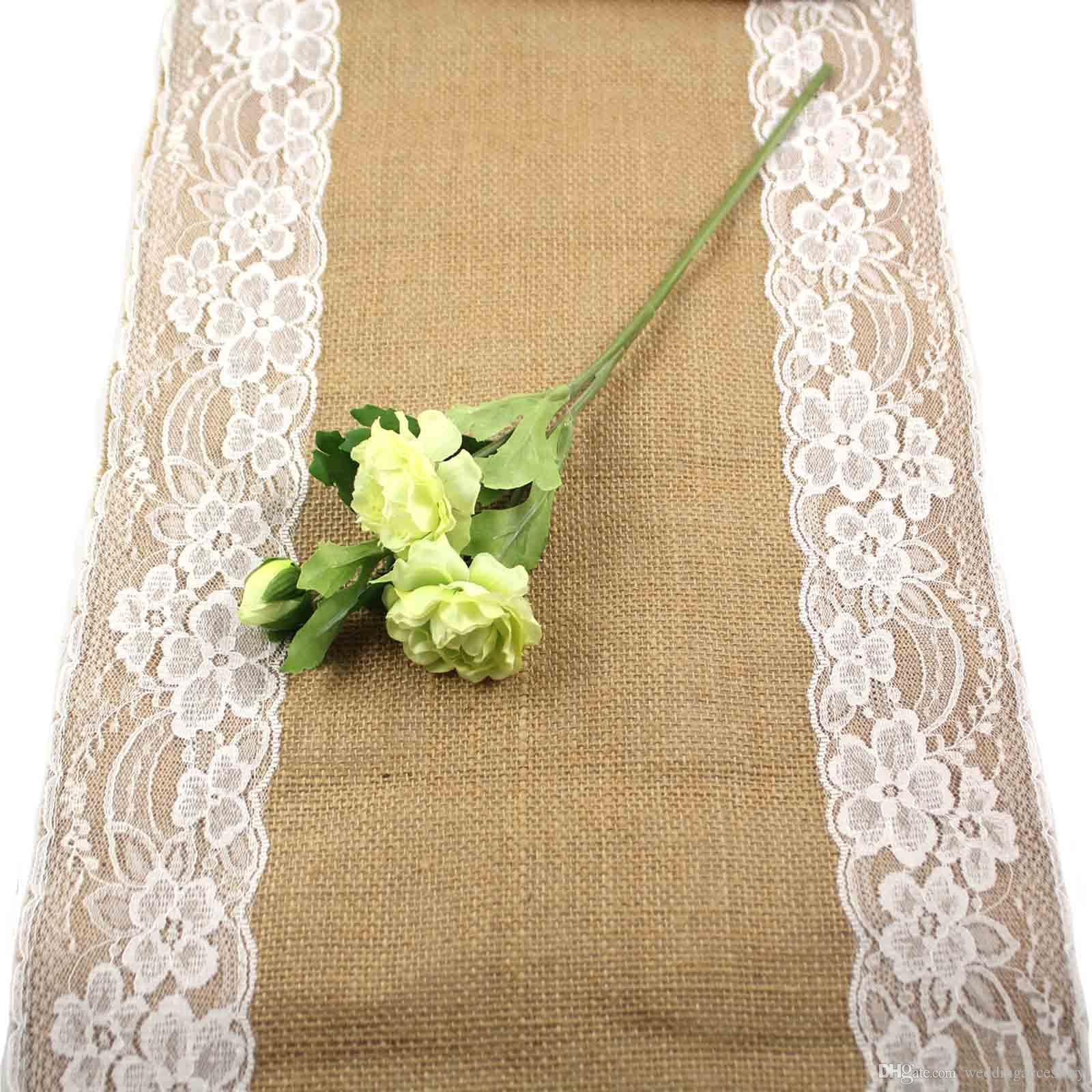 Free By DHL,30x275cm Vintage Burlap Lace Hessian Table Runner ...